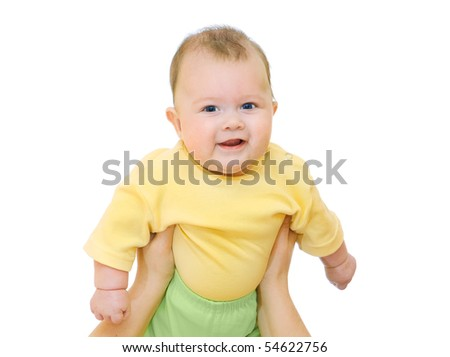 Smiling baby on hands of mother over white - stock photo