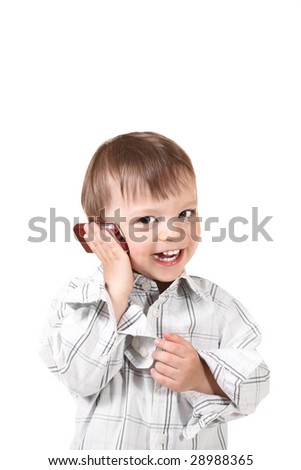 smiling baby with mobile phone - stock photo