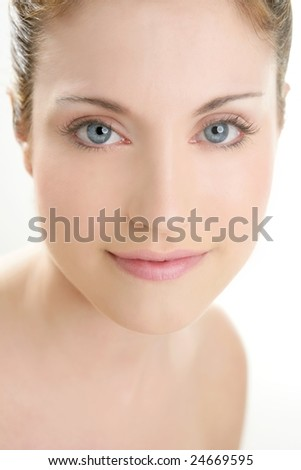 Smiling beautiful adult woman portrait isolated on white - stock photo