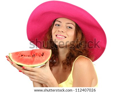 Smiling beautiful girl in beach hat with watermelon isolated on white