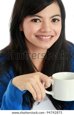 smiling beautiful girl with a cup of coffee - stock photo