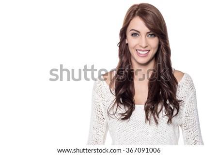 Smiling beautiful lady over white - stock photo