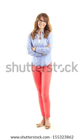 Smiling beautiful mature woman looking at camera against white background - stock photo