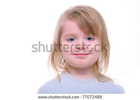 smiling beautiful young girl isolated on white - stock photo