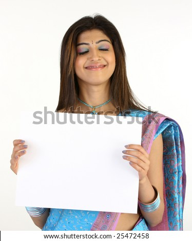 Smiling beauty with the white board