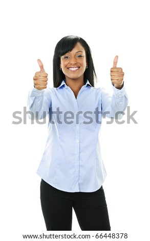 Smiling black woman gesturing thumbs up isolated on white background - stock photo