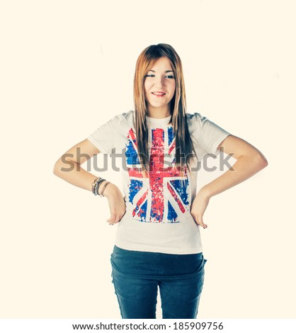 Smiling blond haired women with Union  jack