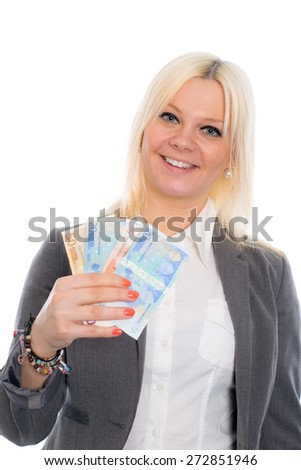 smiling blond young business woman with euros - stock photo