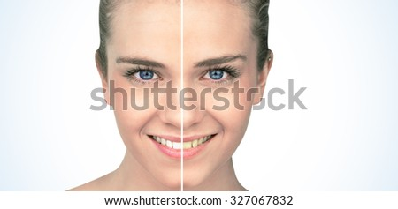 Smiling blonde natural beauty on white background - stock photo