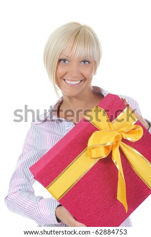 smiling blonde with a gift box. Isolated on white background - stock photo