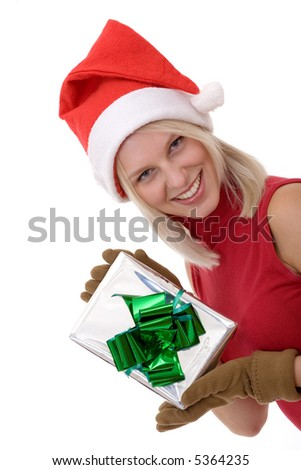 smiling blonde women wearing a santa hat and  holding a gift box