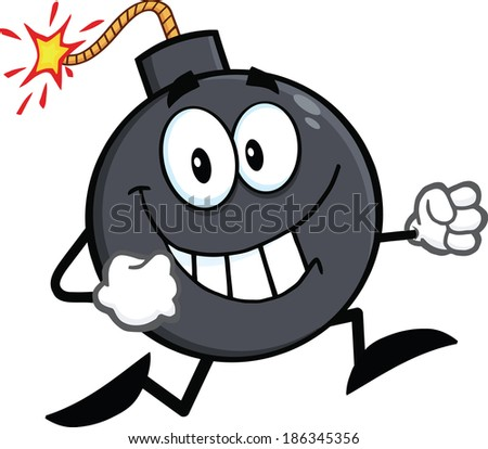 Smiling Bomb Cartoon Character Running. Raster Illustration Isolated on white - stock photo