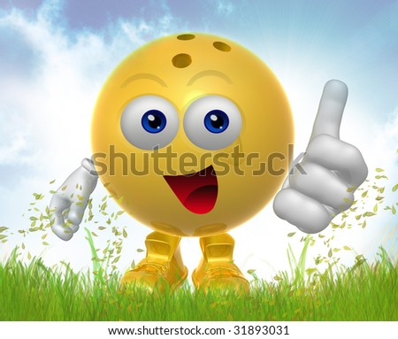 Smiling Bowling ball on the green meadow - stock photo