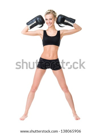 Smiling boxer woman training isolated on white background in full length.