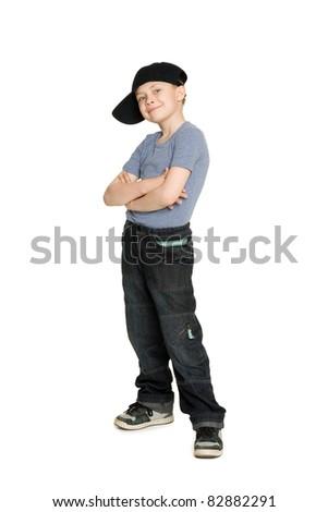 Smiling boy in a baseball cap. - stock photo