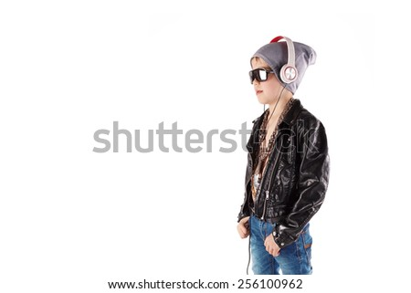 smiling boy in sunglasses and headphones, listening Music, isolated on white - stock photo