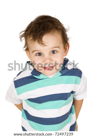 smiling boy isolated on white - stock photo