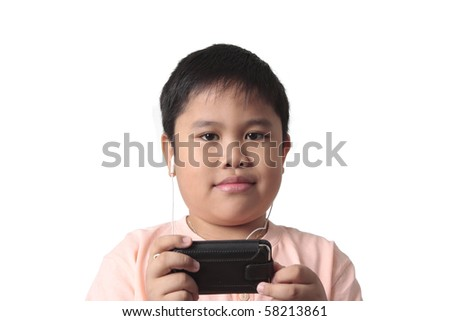 smiling boy with headphones isolated in white background - stock photo