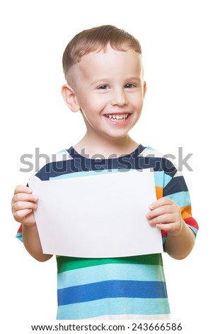 Smiling boy with piece of paper on isolated white