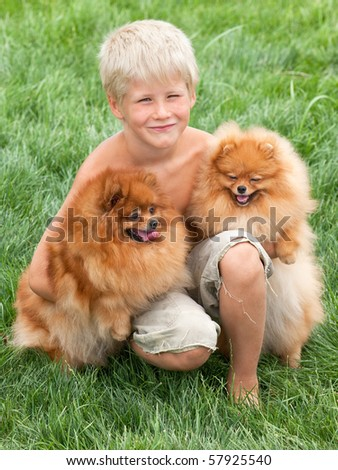 Smiling boy with two dogs are sitting on the grass