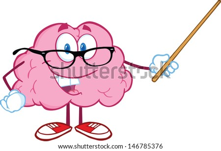 Smiling Brain Teacher Cartoon Character Holding A Pointer. Vector version also available in gallery - stock photo