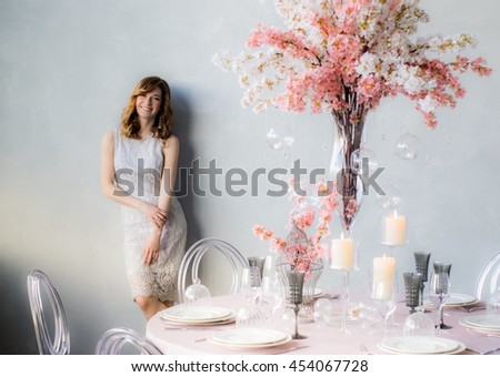 Smiling Bride Near Wall Wedding Decorations Stock Photo Royalty