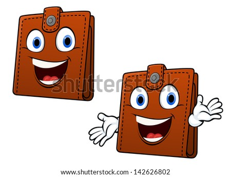 Smiling brown leather purse with hands in cartoon style for home finance concept design or idea of logo. Jpeg version also available in gallery  - stock photo