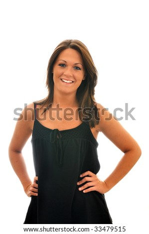 Smiling brunette girl isolated on white background with copy space.
