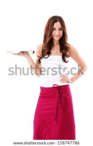 smiling brunette waitress presenting a empty tray on white background - stock photo