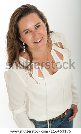 Smiling brunette with white background