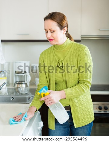 Smiling brunette woman cleaning furniture at domestic kitchen - stock photo