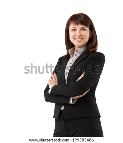 Smiling busiess woman showing confidence and happiness - stock photo