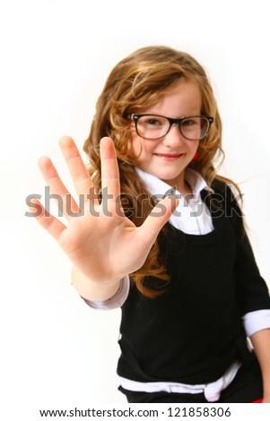 Smiling business girl with glasses making sign five or hello