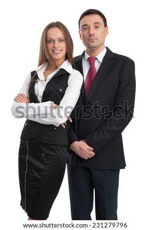 smiling business people isolated on a white background