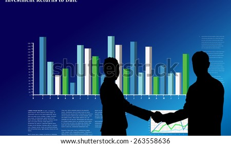 Smiling business people shaking hands while looking at the camera against business interface with graphs and data - stock photo