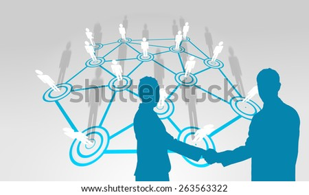Smiling business people shaking hands while looking at the camera against lines linking characters - stock photo