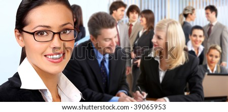 Smiling business people working in the office