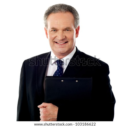 Smiling business person with document file isolated against white background