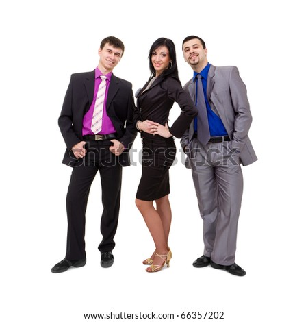 smiling business team standing on a white background - stock photo
