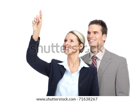 Smiling business team working. Over white background