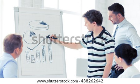 smiling business team working with flipchart in office - stock photo