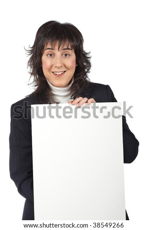 Smiling business woman behind the blank banner - stock photo