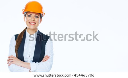 Smiling Business woman engineer isolated portrait with crossed arms. - stock photo