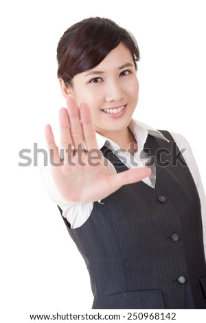 Smiling business woman give you rejected sign, closeup portrait on white background. - stock photo