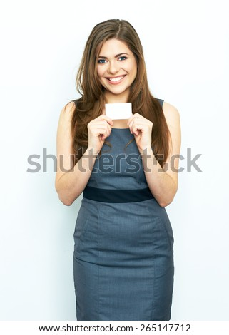 Smiling business woman hold white advertising  board. White card. Isolated portrait. - stock photo