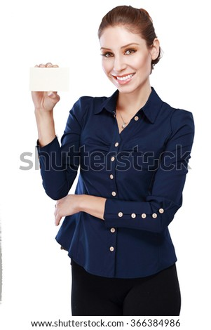 Smiling business woman hold white credit card. Isolated portrait.