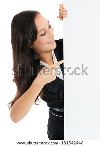 Smiling business woman holding a blank sheet of paper on white to write your text. - stock photo