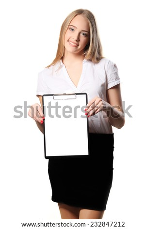 Smiling business woman holding document on clipboard isolated on white background  - stock photo
