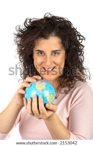 Smiling business woman holding the earth globe over a white background