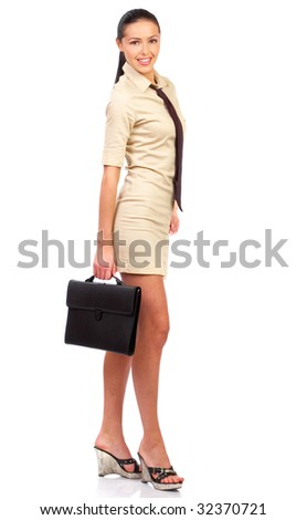 Smiling business woman. Isolated over white background